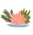 floral composition blooming lotus and leaves vector image