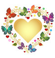floral valentine frame with gold heart and vector image