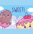 food cute ice cream in stick and cake cartoon vector image