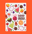 fruit poster with isolated icons vector image