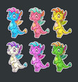 funny colorful dragon stickers set vector image vector image