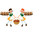 german beer festival oktoberfest two german women vector image vector image