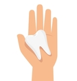 hand hold tooth healthcare vector image