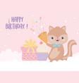 happy birthday squirrel gift cupcake and confetti vector image