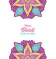 happy diwali festival lights floral mandala vector image vector image