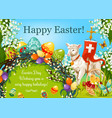 happy easter day cartoon greeting poster design vector image vector image