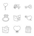 happy valentine day icons set outline style vector image