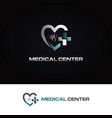 heart medical center logo symbol icon vector image
