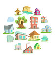 houses icons set cartoon style vector image vector image