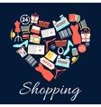 i love shopping emblem in shape heart vector image vector image