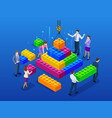 isometric business management online vector image