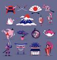 japan travel set vector image