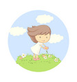 kid plaing on grass vector image vector image