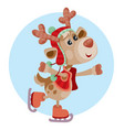 merry christmas holiday graphic cute deer skates vector image vector image