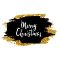 Merry Christmas sign Hand drawn lettering Golden vector image vector image