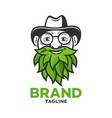modern logo old man with a beard leaves vector image vector image