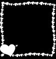 monochrome vintage border made of hearts with vector image vector image