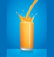 orange juice splash in glass with pour vector image vector image