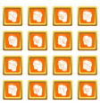 pants pockets design icons set orange square vector image
