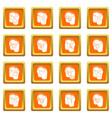 pants pockets design icons set orange square vector image vector image