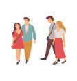 people walking together boyfriend and girlfriend vector image vector image