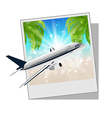 Photo frame with seaside and plane vector image vector image