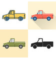 pickup truck icon set in flat and line styles vector image