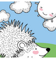 porcupine animal with happy sun and clouds vector image vector image