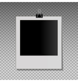 Realistic photo frame on black pin vector image vector image