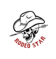 rodeo star skull with arrow in head design vector image vector image