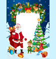 santa elf christmas tree with gifts and presents vector image vector image