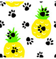 seamless pattern with cats steps and pineapples vector image vector image
