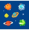 set various cartoon aliens planets vector image vector image