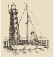Ship and beacon vintage engraved vector image vector image