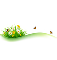 Summer nature background with grass flowers and vector image vector image