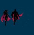 superhero couple flying in space silhouette vector image vector image