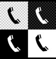 telephone handset icon isolated on black white vector image