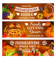 thanksgiving dinner or friendsgiving potluck party vector image vector image