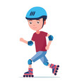 the boy rides on roller skates vector image