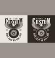vintage custom motorcycle shop badge vector image vector image