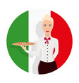 waiter girl is holding the pizza on the tray vector image