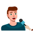 young man with microphone news reporter or show vector image vector image