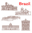 brazil landmarks architecture line icons vector image