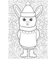 adult coloring bookpage a cute cartoon rabbit vector image vector image
