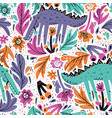 alligator flat hand drawn seamless pattern vector image