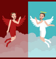 angel and evil character represents good and bad vector image vector image