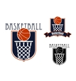 Basketball game icons with baskets and balls vector image vector image
