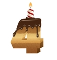 Birthday cake font - number four vector image vector image
