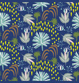 blue floral botany pattern seamless texture vector image vector image