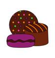 caramel chocolate macarons sweet dessert vector image vector image